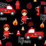 Fire fighters seamless pattern. Firefighters seamless pattern with fire related icons specially for fabric patterns Stock Photos