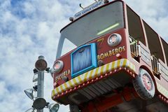 Fire fighters truck funfair in stock photos