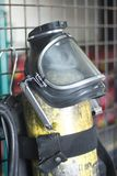 Fire fighters uniform station equipment. Fire station firefighter training equipment protective uniform used by fireman to fight fires and protect from flames Stock Photo