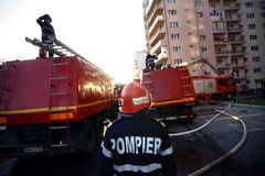 Fire fighters at work Stock Photography