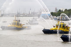 Fire fighting boat Stock Photography