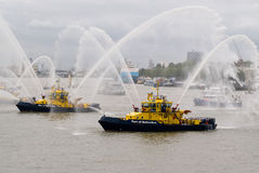 Fire Fighting boat. Sprays jets of water Royalty Free Stock Photos