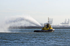Fire fighting boat demonstration Royalty Free Stock Photography
