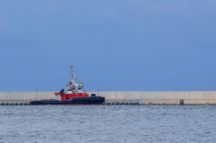 FIRE FIGHTING BOAT IN PORT SWINOUJSCIE Royalty Free Stock Photography
