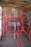 Fire fighting cart. Antique firefighting fire equipment hose cart Royalty Free Stock Images