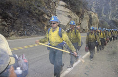 Fire fighting crew carrying equipment, Los Angeles Padres National Forest, California Royalty Free Stock Photos