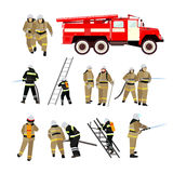 Fire fighting department vector set. Station and firefighters. Fire fighting department vector set. Fire station and firefighters. Firefighting truck and people Stock Photos