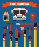 Fire fighting design concept flat illustration. Fire fighting modern design concept flat illustration Stock Photo