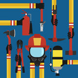 Fire fighting design concept flat set. Fire fighting modern design concept flat set Royalty Free Stock Photography