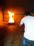Fire fighting drill Stock Image