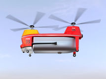 Fire fighting drone flying in the sky. Original concept design Stock Photo