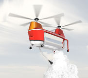 Fire fighting drone flying in the sky. Original concept design Stock Photography