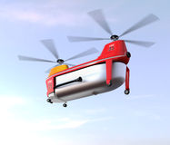 Fire fighting drone flying in the sky. Original concept design Stock Images