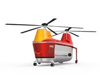 Fire fighting drone on the ground. Original concept design. 3D rendering image Stock Image