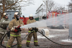 Fire fighting during the emergency training at Narvskaya HPP Stock Images