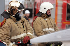 Fire fighting during the emergency training at Narvskaya HPP Stock Photo