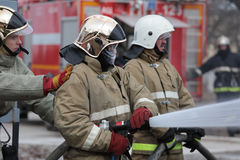 Fire fighting during the emergency training at Narvskaya HPP Stock Photos