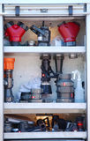 Fire Fighting Equipment. On fire truck Royalty Free Stock Photography