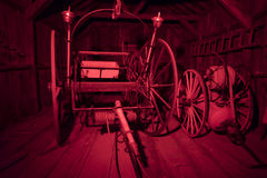 Fire fighting equipment, Bodie, California. Firefighting equipment inside firehouse in Bodie State Historic Park Royalty Free Stock Photo