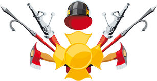 Fire-fighting equipment emblem. Emblem fire department. Badge, hose, hook and ax Stock Photo