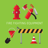 Fire fighting equipment. On green background vector illustration Stock Photos
