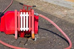 Fire fighting equipment in a water intake zone Royalty Free Stock Images