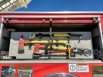 Axe, Fire Truck Equipment, Firefighting Tools Royalty Free Stock Photos