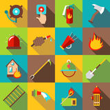 Fire fighting icons set, flat style. Fire fighting icons set. Flat illustration of 16 fire fighting vector icons for web Stock Photos