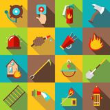 Fire fighting icons set, flat style. Fire fighting icons set. Flat illustration of 16 fire fighting icons for web royalty free illustration