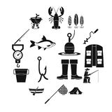 Fishing tools icons set, simple style. Fire fighting icons set. Simple illustration of 16 fire fighting vector icons for web Royalty Free Stock Photo