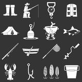 Fishing tools icons set grey vector. Fire fighting icons set vector white isolated on grey background Stock Image