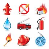 Fire fighting icons vector set. Fire fighting icons photo realistic vector set Stock Photo