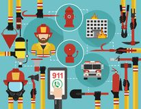 Fire Fighting infographic concept flat online call. Vector illustration Stock Image