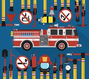 Fire Fighting infographic flat design with fire engine. Vector illustration Stock Photos