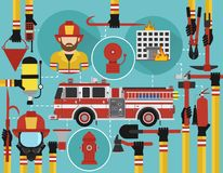 Fire Fighting infographic flat design with firefighter and fire engine. Vector illustration Stock Photography