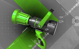 Fire fighting nozzle. Digital illustration of fire fighting nozzle in colour background Stock Photos