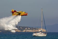 Fire-fighting plane at training Royalty Free Stock Photo