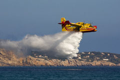 Fire-fighting plane at training royalty free stock image