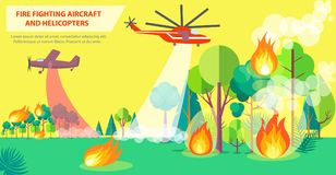 Fire Fighting Poster with Aircraft and Helicopter. Aerial firefighting poster with inscription. Vector illustration of red aircraft and purple helicopter trying Stock Images