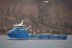 Fire Fighting and Rescue Vessel 'Polarsyssel' on duty in Spitsbergen Stock Images