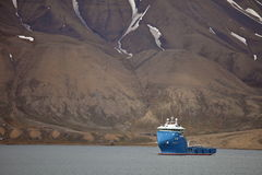 Fire Fighting and Rescue Vessel 'Polarsyssel' on duty in Spitsbergen Royalty Free Stock Images