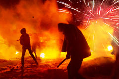 Fire fighting on the street Grushevskogo Royalty Free Stock Image