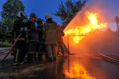Fire fighting training. Stock Image