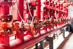 Fire fighting water supply pipeline system Stock Photos