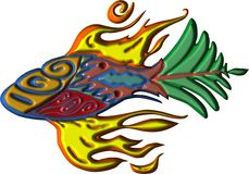 Fire Fins Fish Animation. Fire fish fins with leaf tail flaming its fire fins Stock Photo
