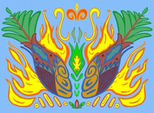 Fire Fins Fish Motif. Fire fish fins with leaf tail. Sky blue background Royalty Free Illustration