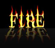Fire on Fire. The word fire burning with a black background and a reflection Royalty Free Stock Image