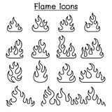 Fire & Flame icon set in thin line style. Fire Stock Photography