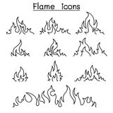 Fire & flames icon set in thin line style. Fire Royalty Free Stock Photography