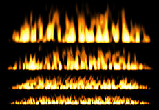 Fire or fire lines isolated on black background, fire elements, fire frame Stock Photos